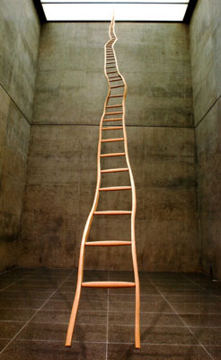 "Martin Puryear, Ladder for Booker T. Washington, 1996, ash and maple, 36' x 22 3/4"" (narrowing to 1 1/4"" at top) x 3"". Photo: David Wharton."