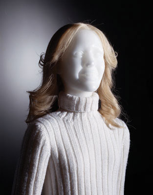 "Keith Edmier, Jill Peters, 1997, polyvinyl, wax, cotton, rayon, polyester, leather, silicone, and human hair, 65 x 39 1/2 x 46""."