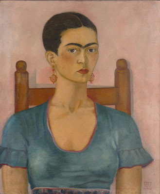 "Frida Kahlo, Self Portrait, 1930, oil on canvas, 26 x 22""."