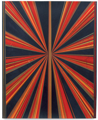 "Mark Grotjahn, Untitled (Red Orange Brown Black Butterfly 581), 2005, colored pencil on paper, 58 3/4"" x 48""."