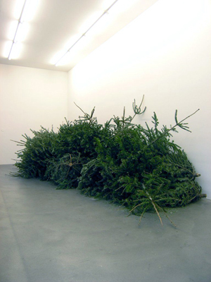 Tue Greenfort, Flexible Weihnachtsbaum-Einsammlung (Flexible Christmas Tree Collection), 2005, wall text, christmas trees, dimensions vary.