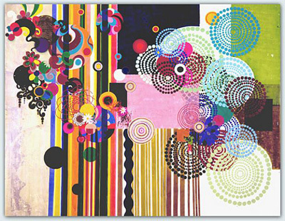 "Beatriz Milhazes, Pacaembu, 2004, acrylic on canvas, 105 3/4 x 135""."