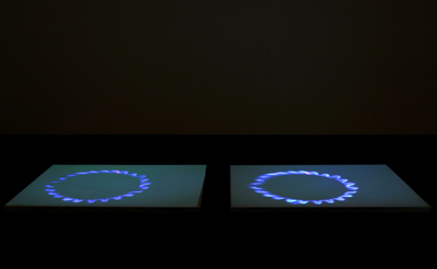 Mirosław Bałka, Blue Gas Eyes, 2004, steel, salt, and video projection. Installation view, Gladstone Gallery, New York.