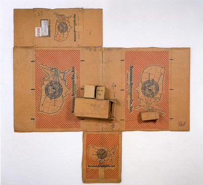 "Robert Rauschenberg, National Spinning / Red / Spring (Cardboard), 1971, cardboard and string, 100 x 98 1/2 x 8 1/2""."