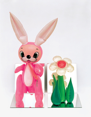 "Jeff Koons, Inflatable Flower and Bunny (Tall White and Pink Bunny), 1979, vinyl and mirrors, 32 x 25 x 18""."