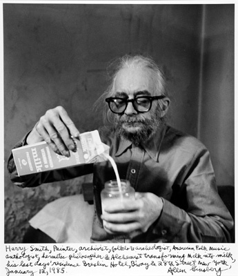"Allen Ginsberg, Harry Smith Hermetic Philosopher and Alchemist Transforming Milk into Milk NY January 12, 1985, gelatin silver print, 15 3/4 x 11 3/4""."