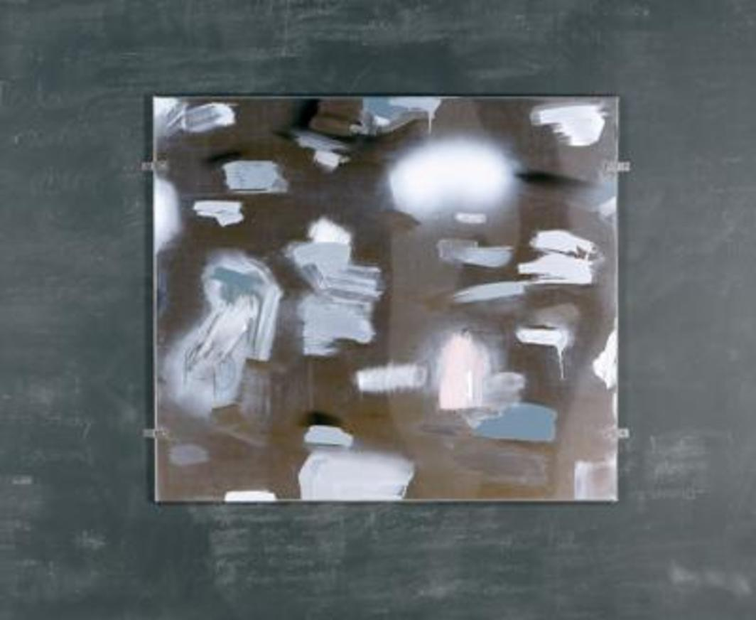 "Robert Beck, Untitled (Clean), 2004, mixed media on stainless steel bathroom partition, 58 x 69 1/4""."