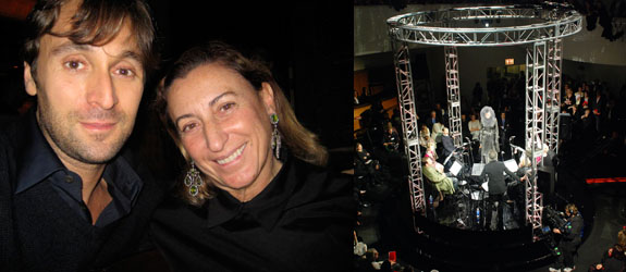 Left: Artist Francesco Vezzoli with designer Miuccia Prada. (Photo: Linda Yablonsky) Right: The performance of Right You Are (If You Think You Are).