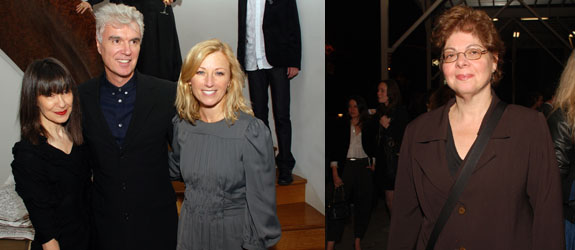 Left: RoseLee Goldberg, David Byrne, and Cindy Sherman. Right: Whitney Museum chief curator Donna De Salvo. (Photos: David Velasco)