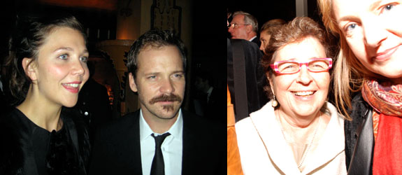 Left: Maggie Gyllenhaal and Peter Sarsgaard. (Photo: Linda Yablonsky) Right: Dealer Marian Goodman and Vogue's Eve MacSweeney. (Photo: David Velasco)