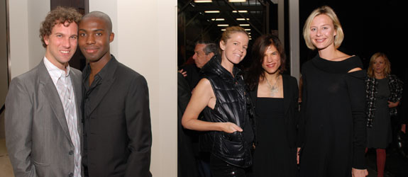 Left: Producer Mike Skinner and artist Adam Pendleton. Right: Art Production Fund's Yvonne Force-Villareal and Doreen Remen with Renee Rockefeller. (Photos: David Velasco)
