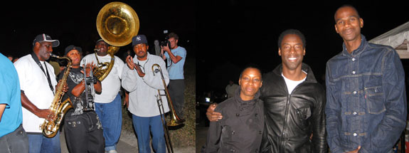 Left: The Rebirth Brass Band. (Photo: Frank Aymami) Right: Jenisa and Isaiah Washington with artist Mark Bradford. (Photo: Brendan Griffiths)