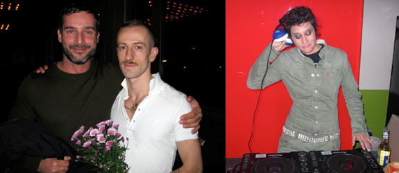 Left: Actor Christophe Chemin (right) with a friend. Right: Peaches.