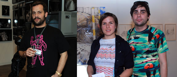 Left: Dealer Javier Peres. Right: Artists Lia Halloran and Hernan Bas.