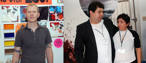 Left: Geisai artist Eric Doeringer. Right: Art Palace's Arturo Palacios and Risa Puleo.