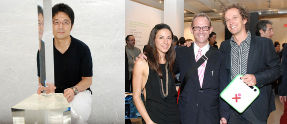 Left: Designer Tokujin Yoshioka. Right: Matthew Marks's Sabrina Buell, dealer Paul Morris, and One Laptop Per Child designer Yves Béhar.