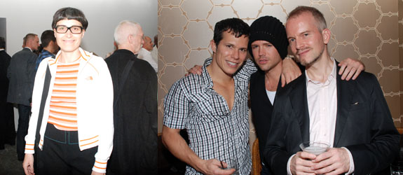 Left: Designer Matali Crasset. Right: Artist Anthony Goicolea, Daniel Peddle, and dealer Brian Kish.