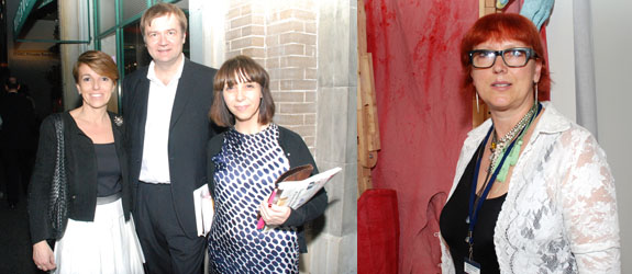 Left: Collectors Patrizia Sandretto Re Rebaudengo and Agostino Re Rebaudengo with Helen Weaver. Right: Postmasters's Magdalena Sawon.