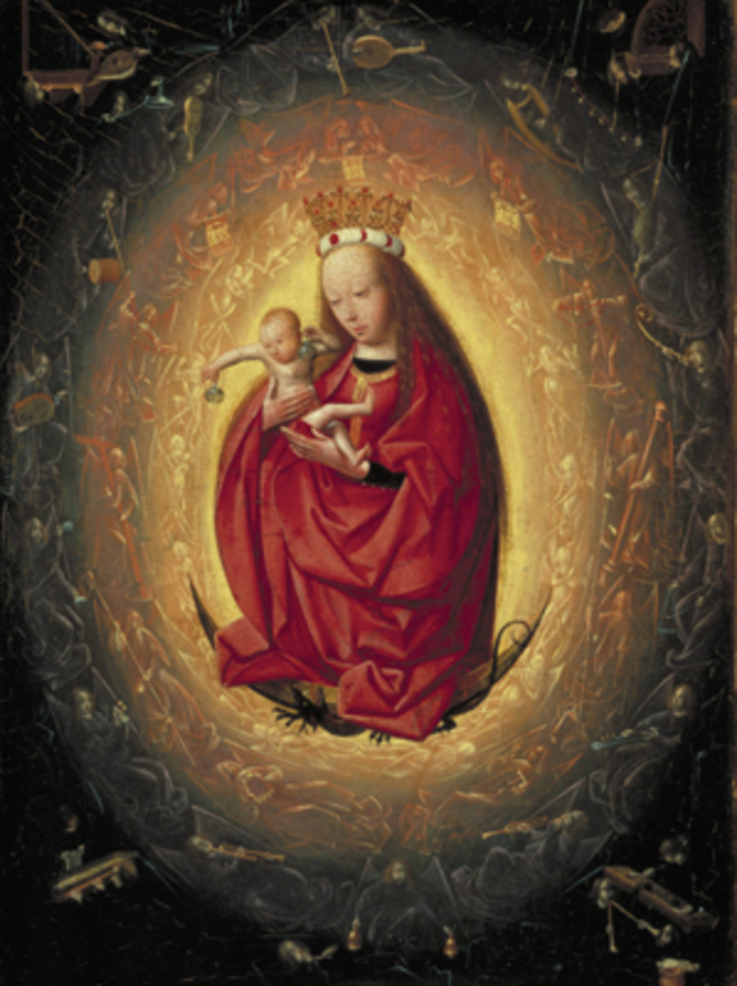 "Geertgen tot Sint Jans, Glorification of the Virgin Mary, ca. 1495, oil on wood panel, 10 1/2 x 8""."