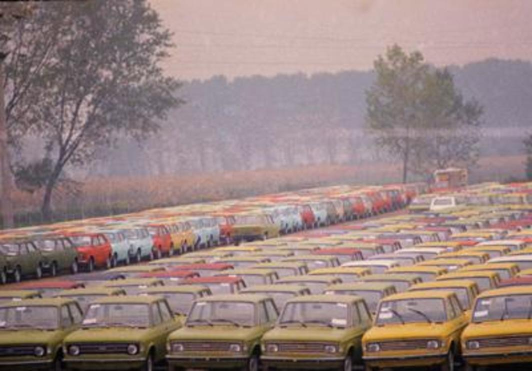 Fiat storage lot, Turin, Italy, 1974. Photo: AP/Raoul Fornezza