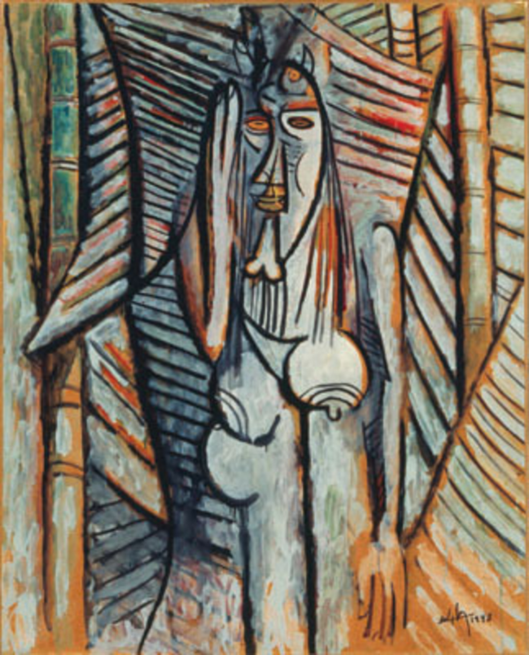 "Wifredo Lam, The Murmur, 1943, oil on paper mounted on canvas, 41 5/16 x 33 1/6"". © Estate of Wifredo Lam, 2007 / Artists Rights Society (ARS), New York / ADGAP, Paris."
