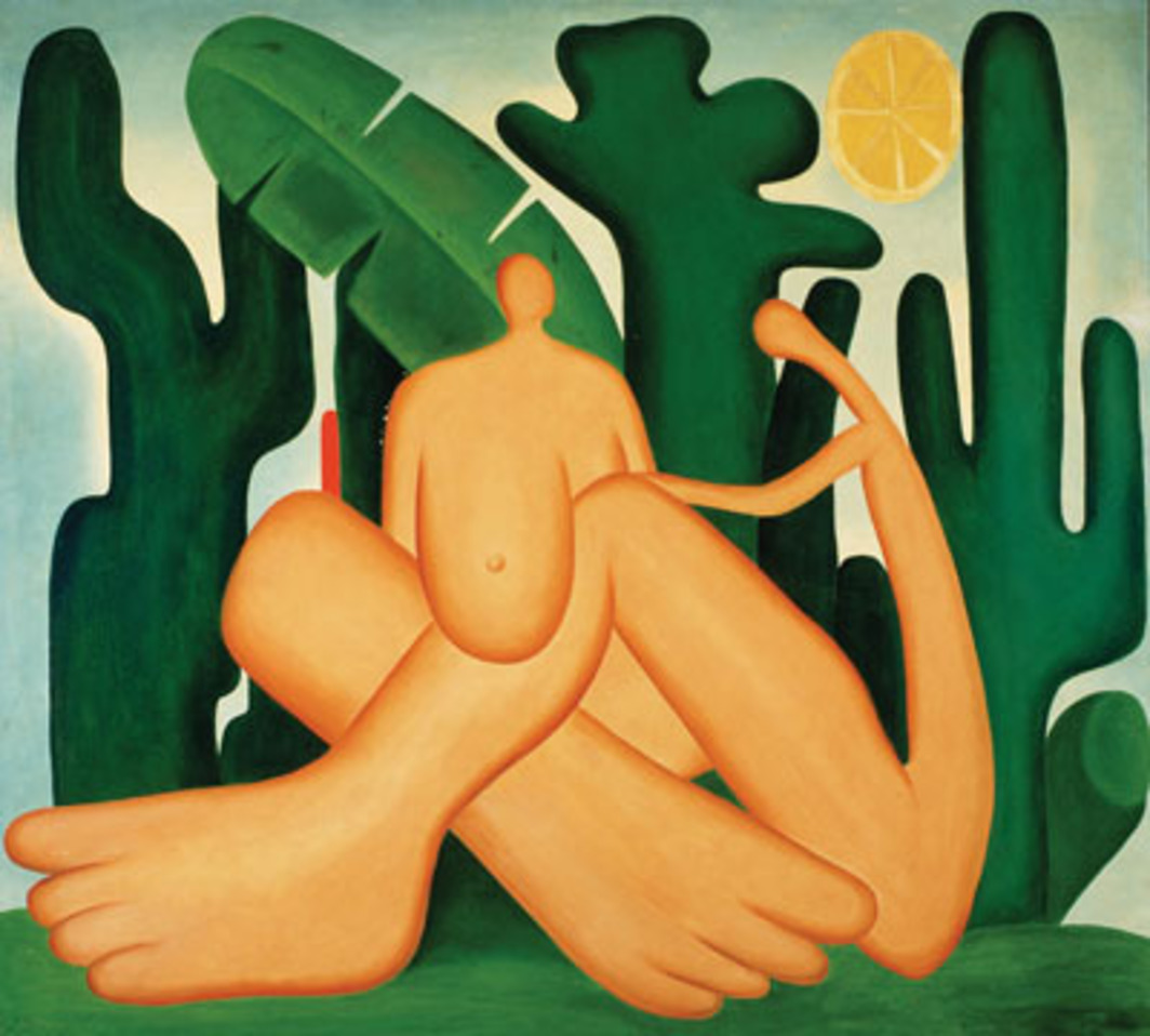 "Tarsila, Antropofagia, 1929, oil on canvas, 49 5/8 x 55 7/8""."