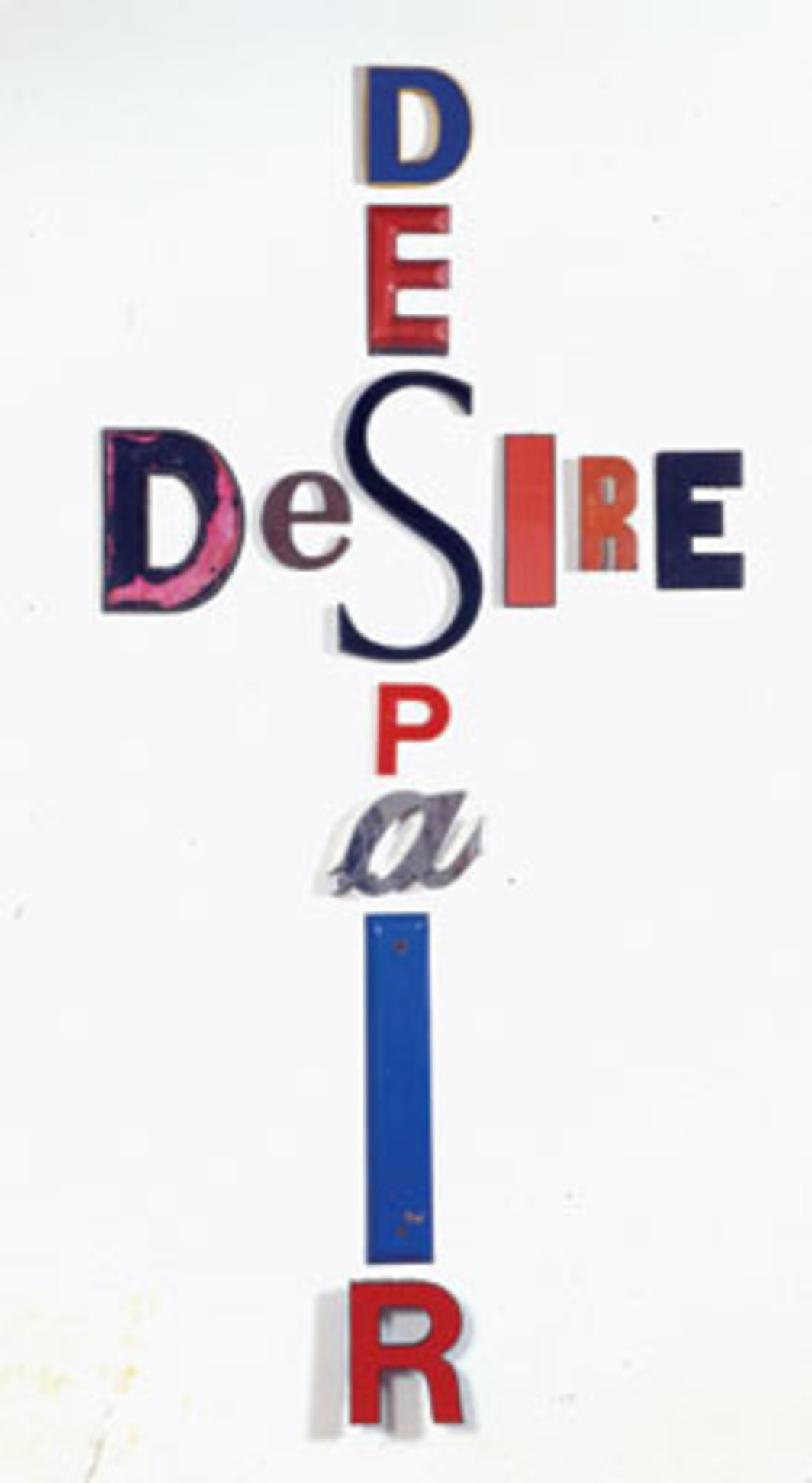 "Jack Pierson, Desire Despair, 1996, metal, plastic, Plexiglas, and wood. 116 5/16 x 56 1/4""."