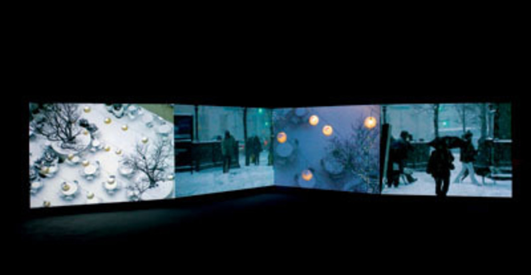 Eija-Liisa Ahtila, The Hour of Prayer, 2005, four-channel video installation, 14 minutes 12 seconds. Installation view, Museum of Contemporary Art, San Diego, 2007. Photo: Pablo Mason.