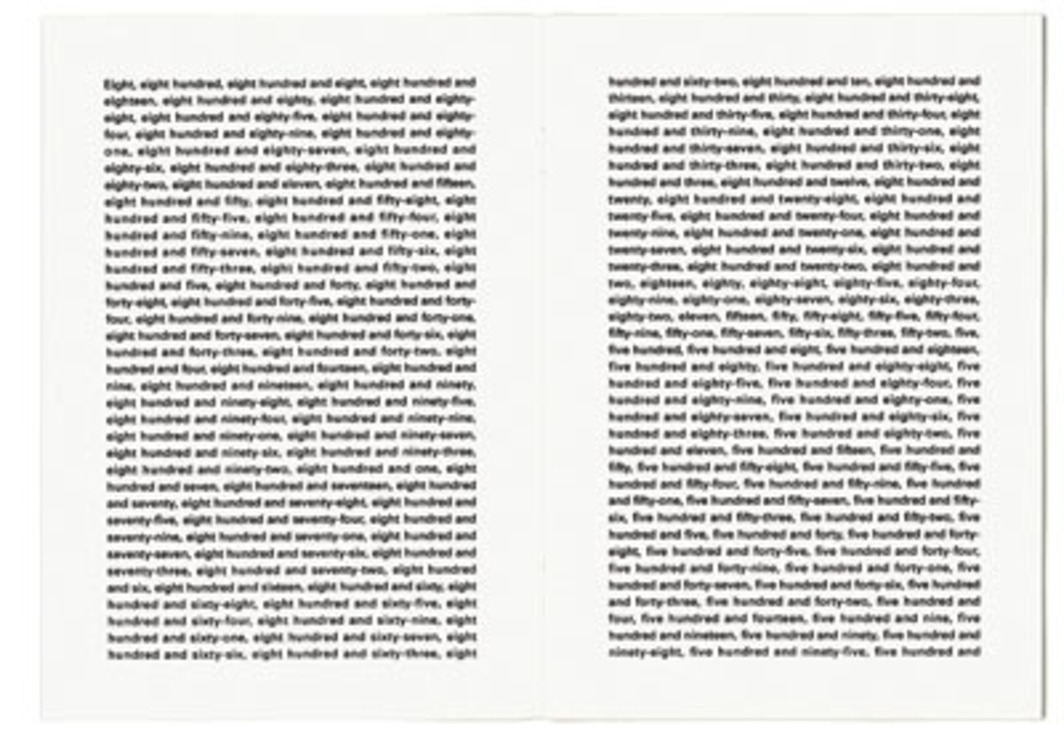 "Claude Closky, The First Thousand Numbers Classified in Alphabetical Order (detail), 1989–92, artist's book, 16 pages, 8 1/4 x 5 7/8""."