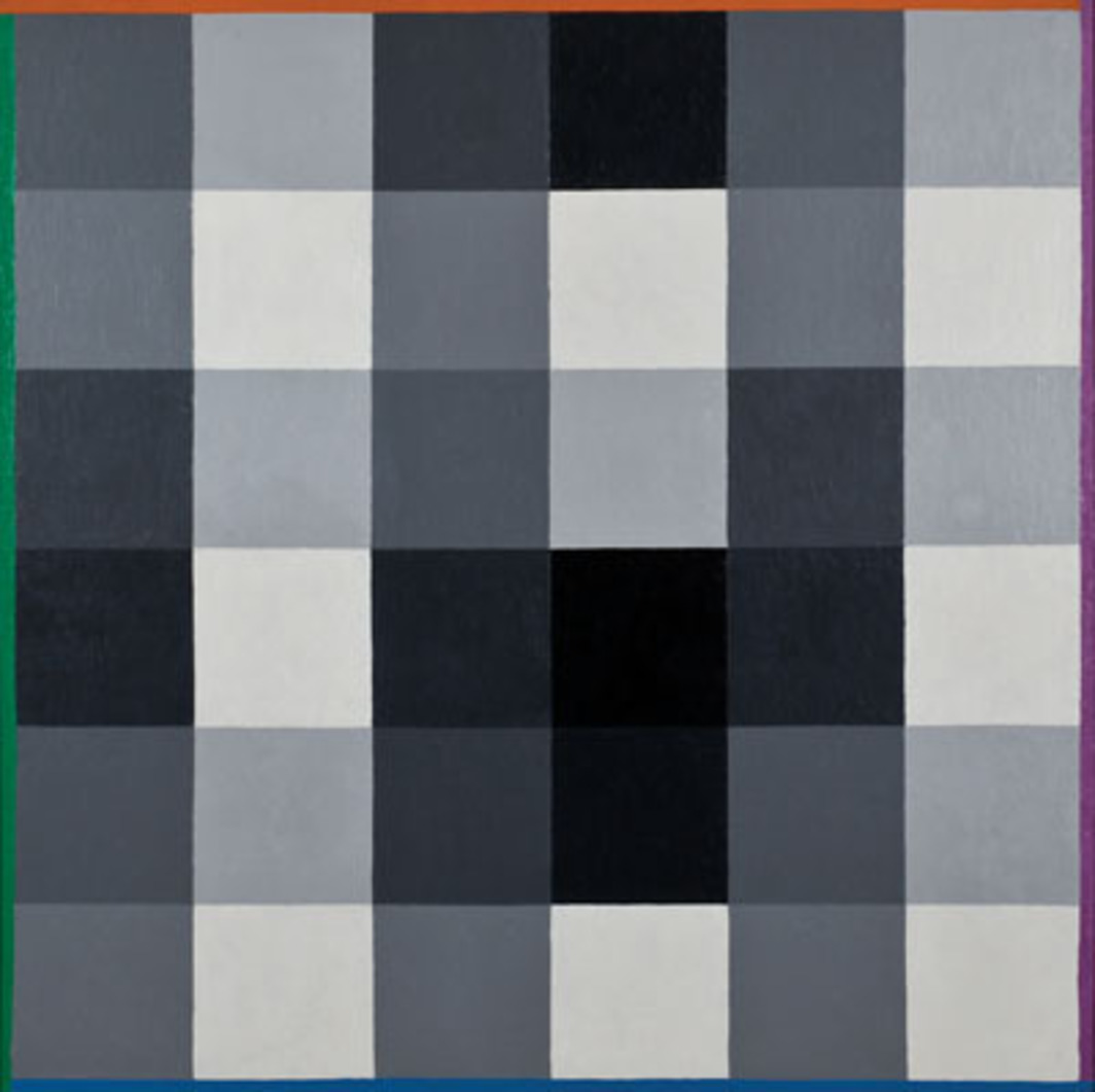 "Max Bill, Ein Schwarz zu Acht Weiss (One Black to Eight White), 1956, oil on canvas, 39 3/8 x 39 3/8"". Photo: Theres Bütler."