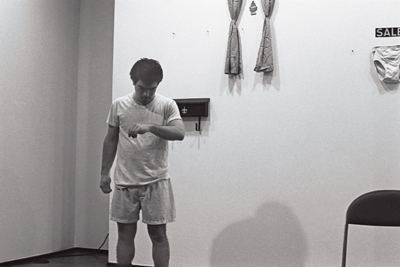 Michael Smith, Down in the Rec Room, 1979/1981. Performance view, Castelli Graphics, New York, 1980.