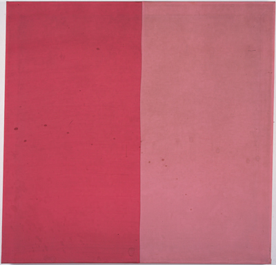 "Blinky Palermo, Rot/Rosa (Red/Pink), 1966–67, fabric on stretcher, 30 3⁄4 x 31 5⁄12""."