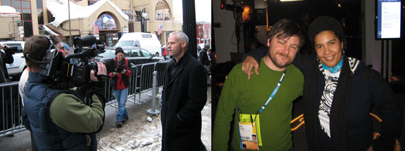 "Left: Director Martin McDonagh interviewed on Main Street. Right: ""New Frontier on Main"" programmers Mike Plante and Shari Frilot. (Photos: Steven Henry Madoff.)"
