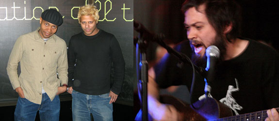 Left: Artists Paul D. Miller and Hasan Elahi. (Photo: Steven Henry Madoff) Right: Artist Brent Green performs with Califone. (Photo: Matthew Simmons/WireImage)