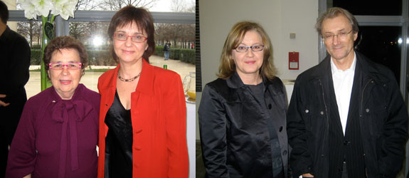 Left: Marian Goodman and Jeu de Paume director Marta Gili. Right: Eija-Liisa Ahtila and art historian Régis Durand. (All photos: Lillian Davies)