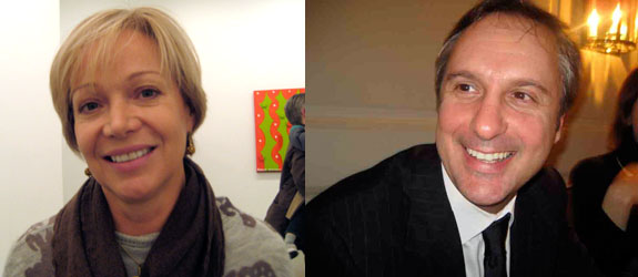 Left: Dealer Lucy Mitchell-Innes. Right: Collector Carlo Bronzini Vender.
