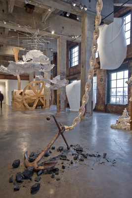 "View of ""Site 92: Phase II."" Foreground: Anne Peabody, Coal Chain, 2007. Background, from left: Mia Pearlman, MAELSTROM, 2007; Sonya Blesofsky, Study for Gair Boiler, 2008; Anne Thulin, Two White, 2007; and Steven Millar, Overlay, 2008."