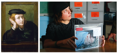 "Left: Correggio, Portrait of a Young Man, ca. 1525, oil on wood, 23 1⁄4 x 17 5⁄12"". © 2008/Réunion des Musées Nationaux, Paris/Art Resource, New York. Right: Gus Van Sant, Paranoid Park, 2007, still from a color film in 35 mm, 90 minutes. Alex (Gabe Nevins)."