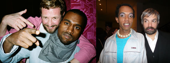 Left: Yves Saint Laurent designer Stefano Pilati and Kanye West. (Photo: Ami Sioux) Right: Singer Sean deLear and Gelitin's Ali Janka. (Photo: Nicolas Trembley)