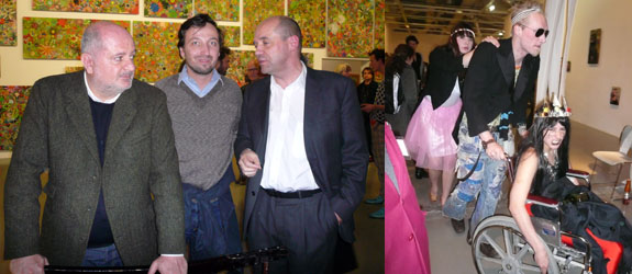 Left: Dealers Massimo De Carlo and Emanuel Perrotin with Fabrice Hergott. Right: Artist Sara Glaxia (on wheelchair). (Photos: Nicolas Trembley)