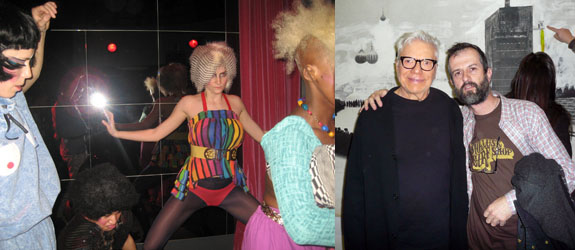 Left: Performance group Danger Curt. (Photo: Christian Badger) Right: Collector Bob Cottle and photographer Ari Marcopoulos. (Photo: Nicolas Trembley)
