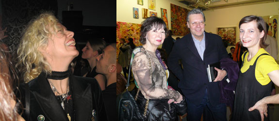 Left: Director and photographer Ellen von Unwerth. (Photo: Christian Badger) Right: Dealers Christian Meyer and Renate Kainer with ARC curator Julia Garimorth. (Photo: Nicolas Trembley)