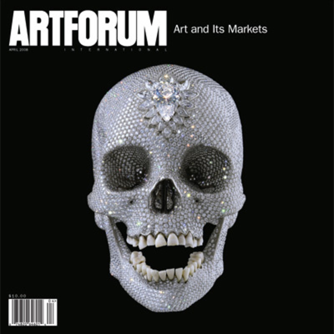 "Cover: Damien Hirst, For the Love of God, 2007, platinum, diamonds, and human teeth, 63⁄4 x 5 x 7 1⁄2""."