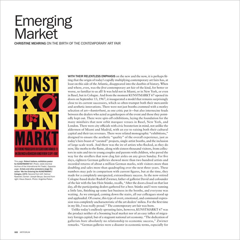 EMERGING MARKET: THE BIRTH OF THE CONTEMPORARY ART FAIR - Artforum