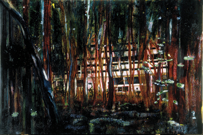 "Peter Doig, Cabin Essence, 1993–94, oil on canvas, 7' 6 1⁄2"" x 11' 9 3⁄4""."