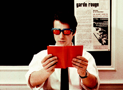 Jean-Luc Godard, La Chinoise, 1967, still from a color film in 35 mm, 96 minutes. Guillaume (Jean-Pierre Léaud). © 2008 Koch Lorber Films. Image scan courtesy of the University of California, Berkeley Art Museum and Pacific Film Archive. Special thanks to Hedi El Kholti.