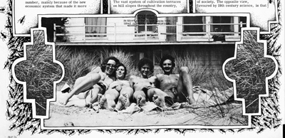 Spread from Suck 8 (June 1974). Editorial staff during an office break on the beach.