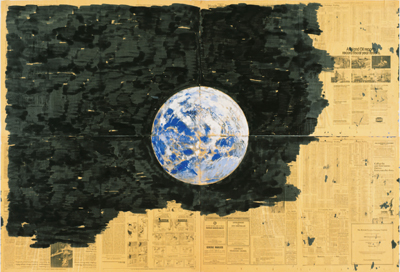 "Paul Thek, Untitled (Earth Drawing I), ca. 1974, acrylic on newspaper, 44 x 66""."