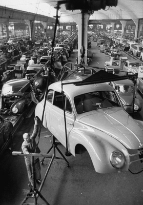 A 1954 Opel car being manufactured by DkW Auto Works, Düsseldorf, December 1, 1953. Photo: Ralph Crane/Getty Images.