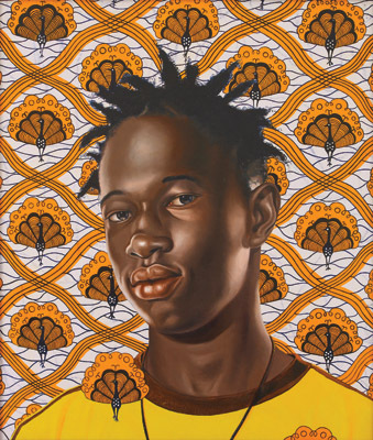 "Kehinde Wiley, Ibrahima Sacho, 2008, oil on canvas, 26 x 22""."